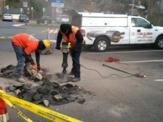 Carl B. Seeds Team is repairing pipe.