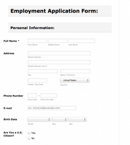 Sewer and Drain Employment application