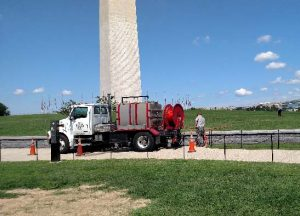 Carl B. Seeds Inc. professionals, Hydro-jetting a sewer line are doing work for the National Park Service.